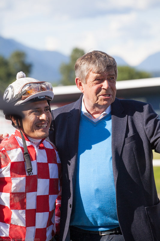 Mario Gutierrez and Proud Owner Glen Todd in the Winners Circle with Mr Bowling - Patti Tubbs Photo